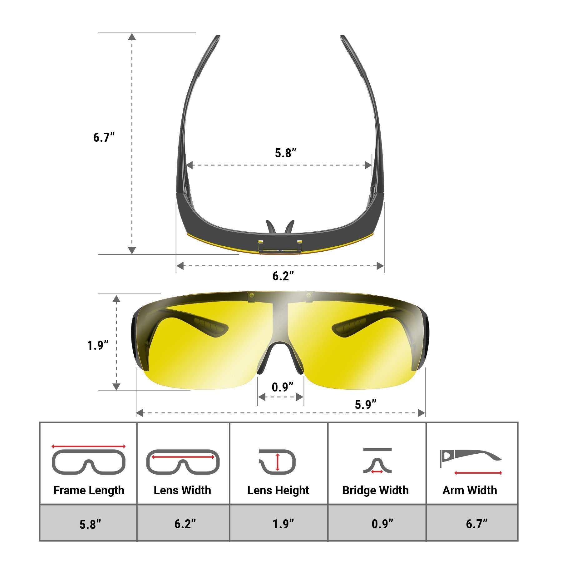 Day and Night Driving Glasses - Specifications